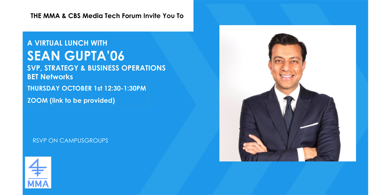 Virtual Lunch with Sean Gupta '06, SVP Strategy and Business Operations, BET Network