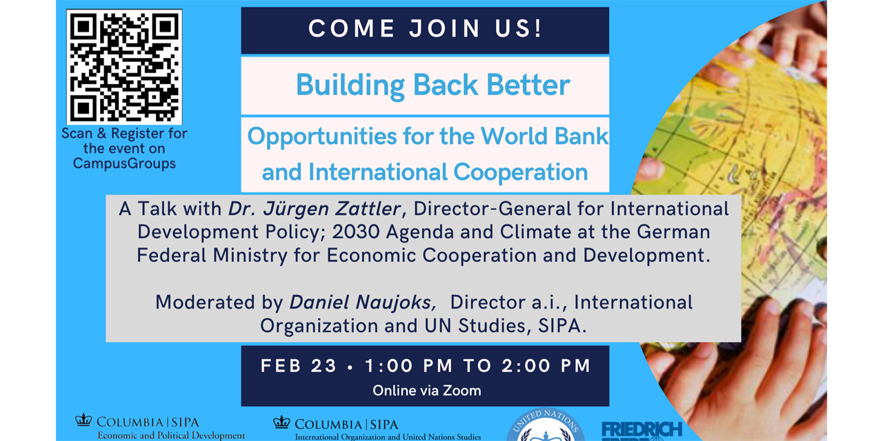 Building Back Better: Opportunities for the World Bank and International Cooperation Event Logo